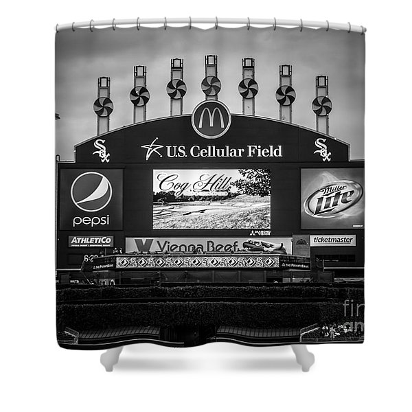 Comiskey Park U.s. Cellular Field Scoreboard In Chicago Shower Curtain by Paul Velgos