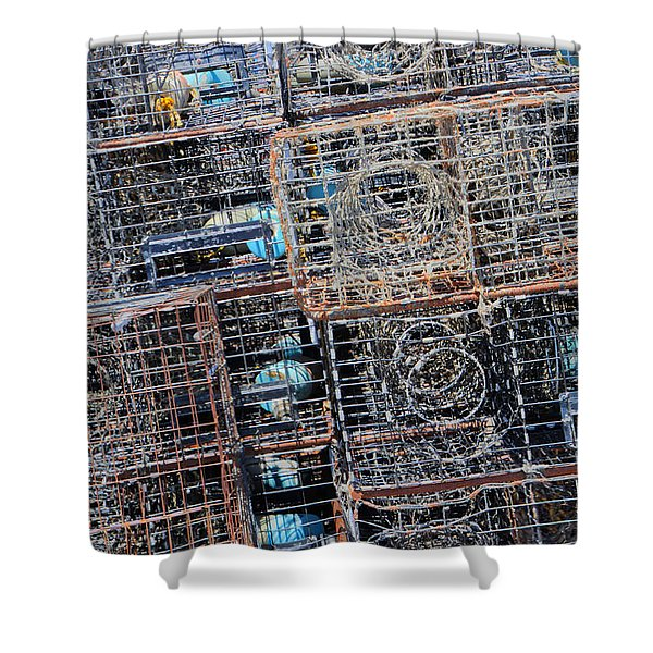 Commercial Fishing Pots Shower Curtain by Heidi Smith