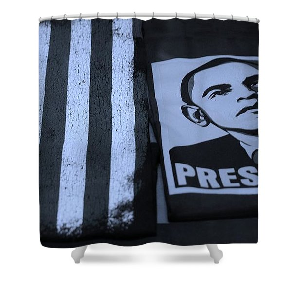 COMMERCIALIZATION OF THE PRESIDENT OF THE UNITED STATES in CYAN Shower Curtain by ROB HANS
