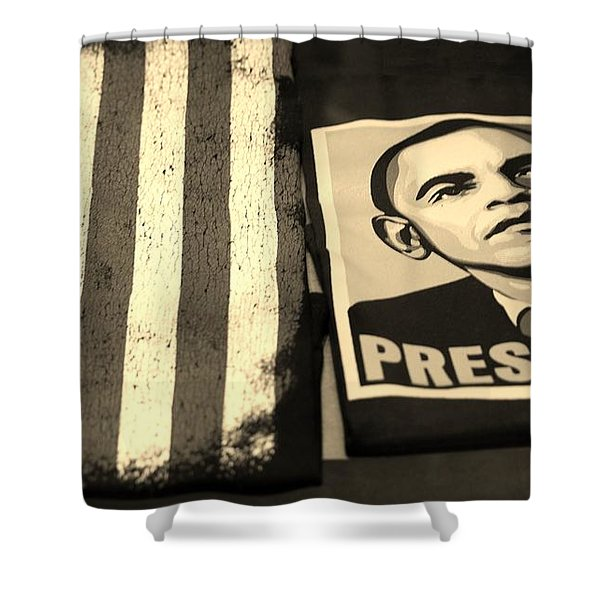 COMMERCIALIZATION OF THE PRESIDENT OF THE UNITED STATES in SEPIA Shower Curtain by ROB HANS