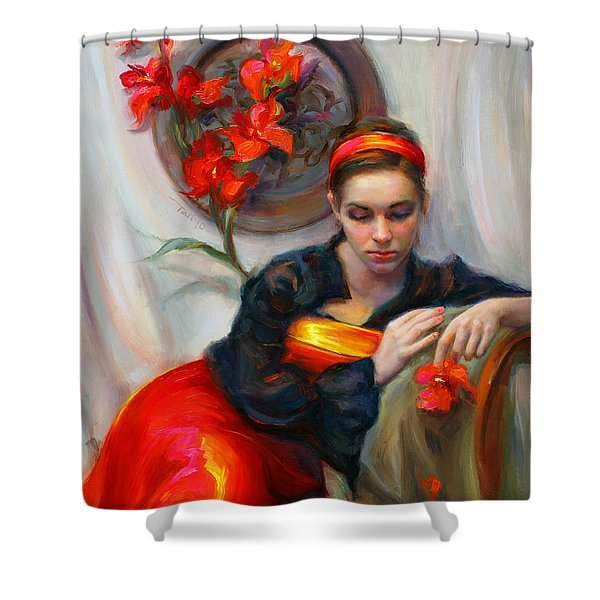 Common Threads - Divine Feminine in silk red dress Shower Curtain by Talya Johnson