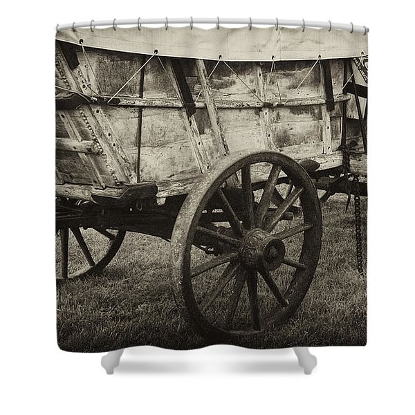 Conestoga Wagon Shower Curtain by Paul W Faust -  Impressions of Light