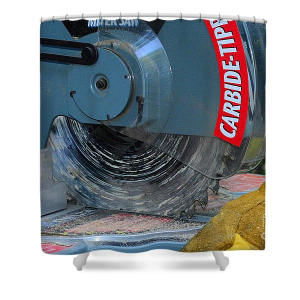 Construction The Chop Saw Shower Curtain by Paul Ward