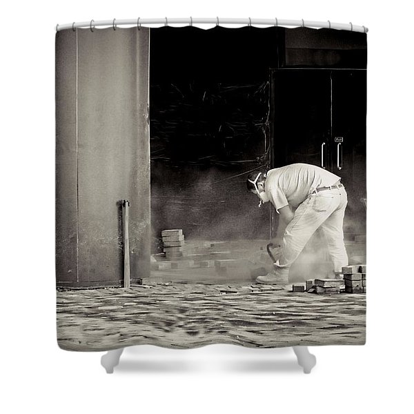 Construction worker BW Shower Curtain by Rudy Umans