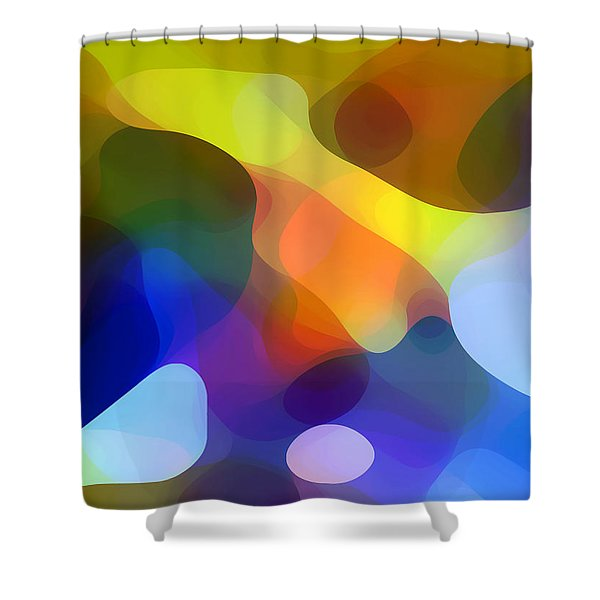 Cool Dappled Light Shower Curtain by Amy Vangsgard
