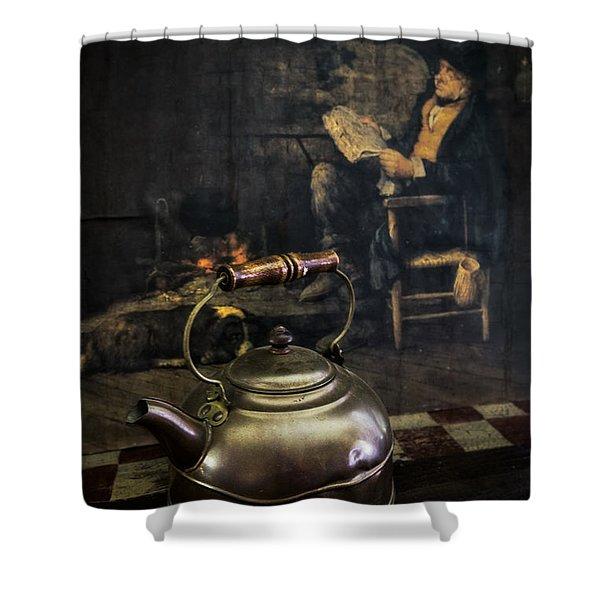Copper Teapot Shower Curtain by Debra and Dave Vanderlaan