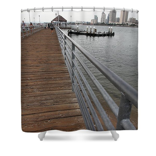 Coronado Pier Overlooking The San Diego Skyline 5d24354 Shower Curtain by Wingsdomain Art and Photography
