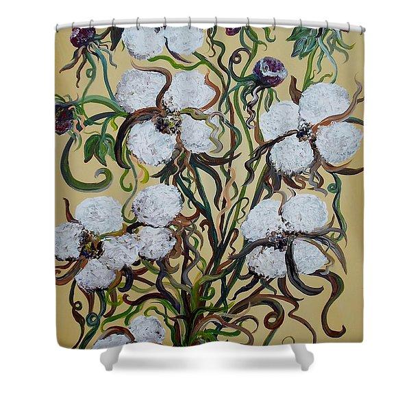 Cotton #2 - Cotton Bolls Shower Curtain by Eloise Schneider