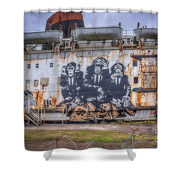 Council of Monkeys Shower Curtain by Adrian Evans
