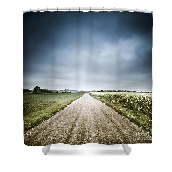 Country Road Through Fields, Denmark Shower Curtain by Evgeny Kuklev