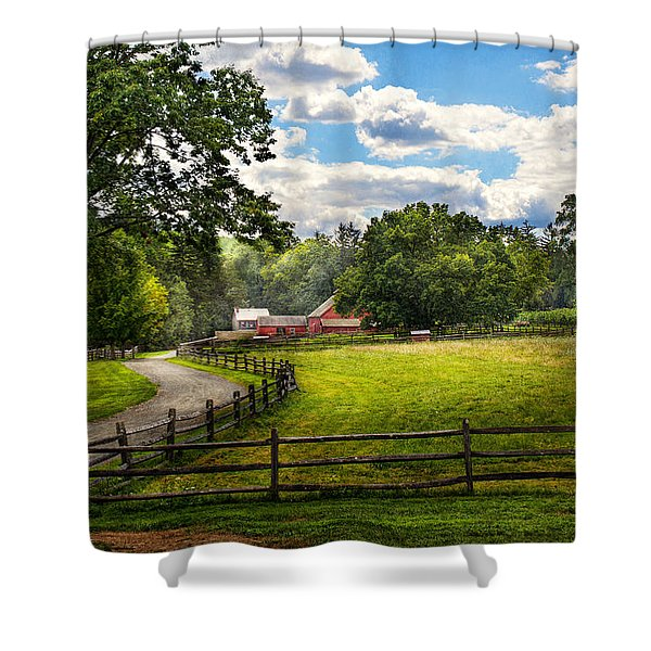Country - The pasture  Shower Curtain by Mike Savad