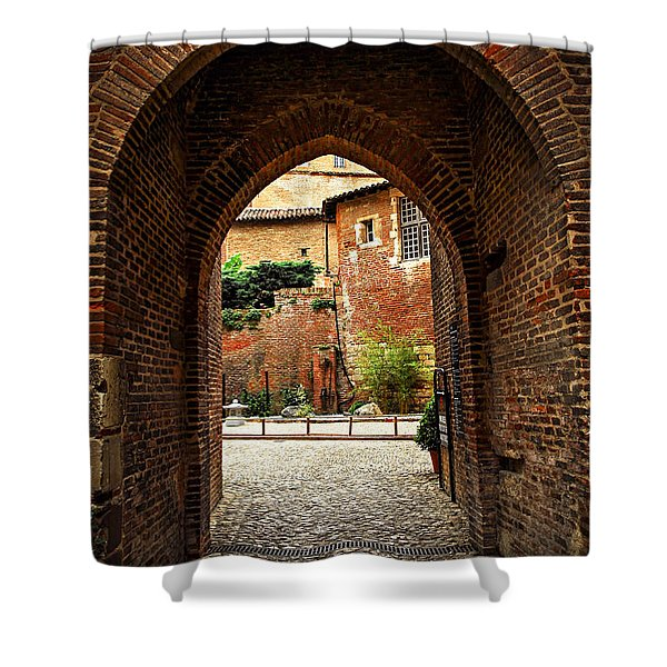 Courtyard of Cathedral of Ste-Cecile in Albi France Shower Curtain by Elena Elisseeva