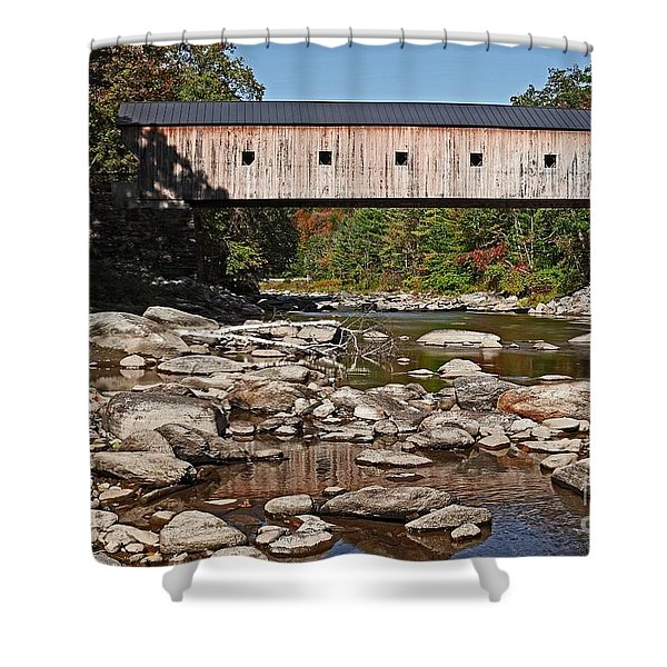 Covered Bridge Vermont Shower Curtain by Edward Fielding