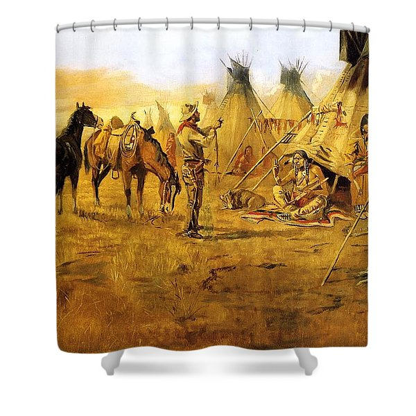Cowboy Bargaining for the Indian Girl Shower Curtain by Charles Russell