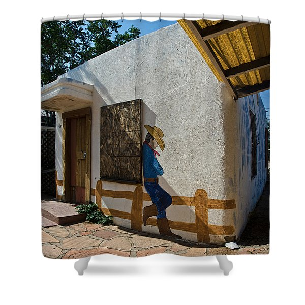 Cowboy Mural In Benson Arizona Shower Curtain by Dave Dilli