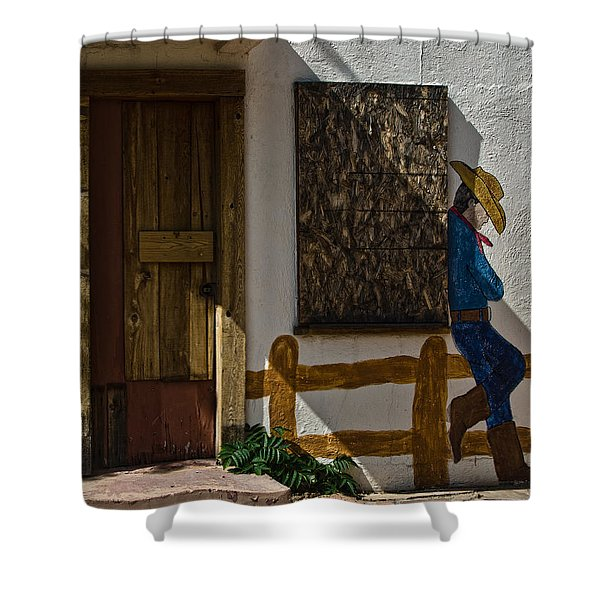Cowboy Mural In Benson Arizona Usa Shower Curtain by Dave Dilli