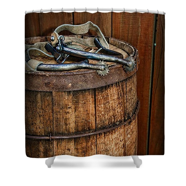 Cowboy Spurs on Wooden Barrel Shower Curtain by Paul Ward