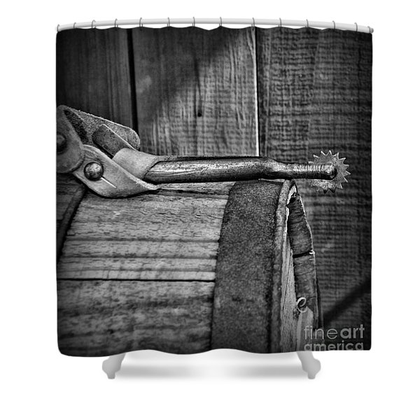 Cowboy themed Wood Barrel and Spur in Black and White Shower Curtain by Paul Ward