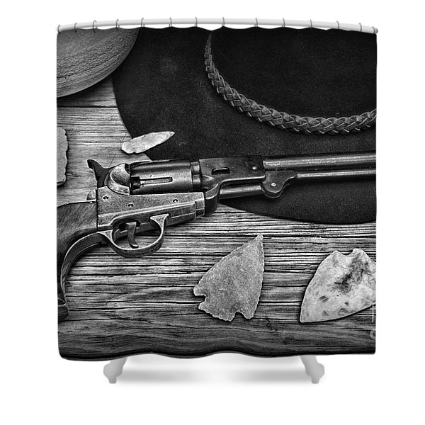 Cowboys And Indians In Black And White Shower Curtain by Paul Ward