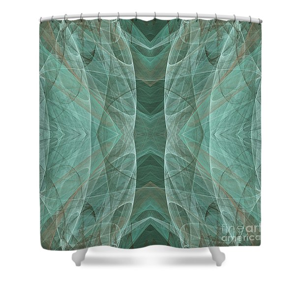 Crashing Waves Of Green 4 - Square - Abstract - Fractal Art Shower Curtain by Andee Design