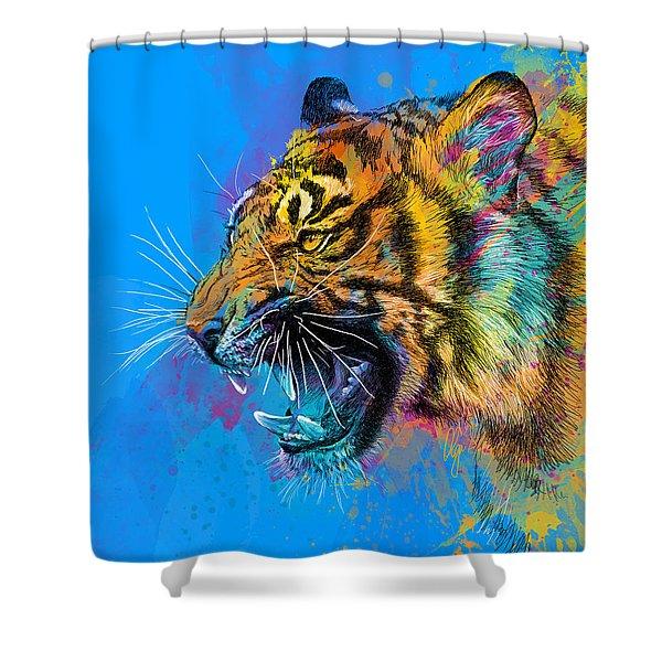 Crazy Tiger Shower Curtain by Olga Shvartsur