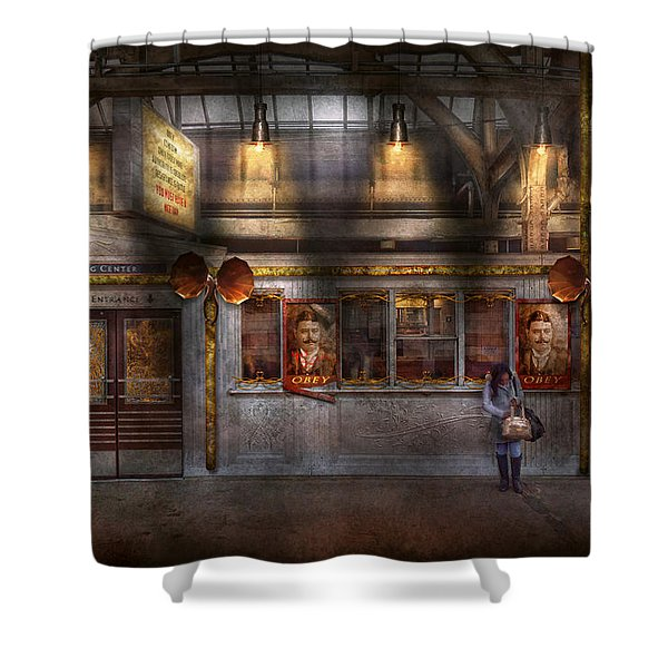 Creepy - Apocalyptic - Obedience and Compliance Shower Curtain by Mike Savad