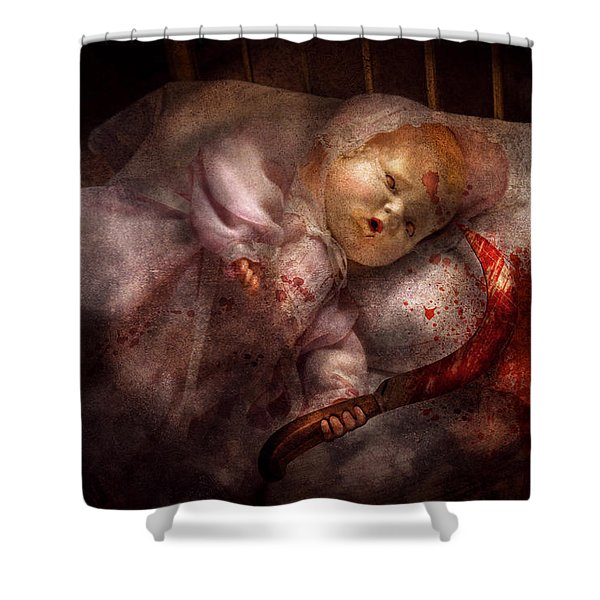 Creepy - Doll - Night Terrors Shower Curtain by Mike Savad