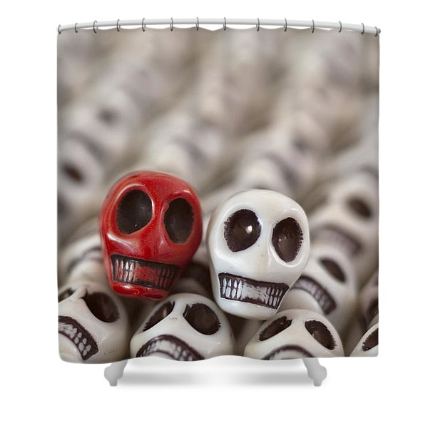 Crimson and White Shower Curtain by Mike Herdering