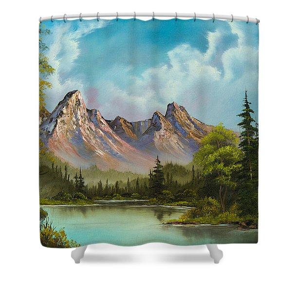 Crimson Mountains Shower Curtain by C Steele