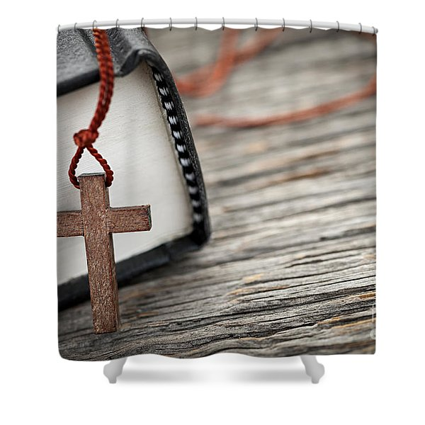 Cross and Bible Shower Curtain by Elena Elisseeva
