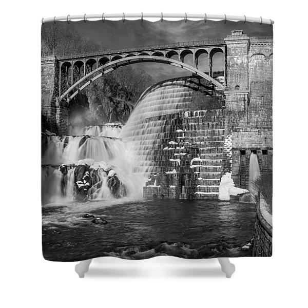Croton Dam BW Shower Curtain by Susan Candelario