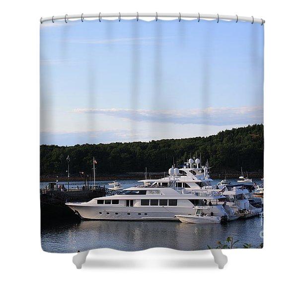 Cruiseships At Bar Harbor Shower Curtain by Photographic Art and Design by Dora Sofia Caputo