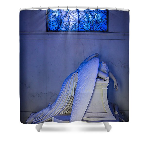 Crying Angel Shower Curtain by Inge Johnsson