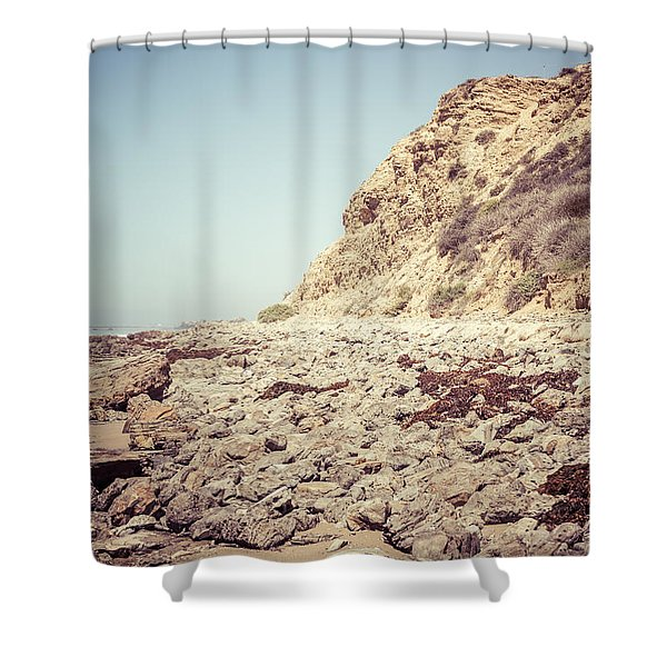 Crystal Cove State Park Cliff Picture Shower Curtain by Paul Velgos