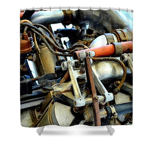 Curtiss OX-5 Airplane Engine Shower Curtain by Michelle Calkins