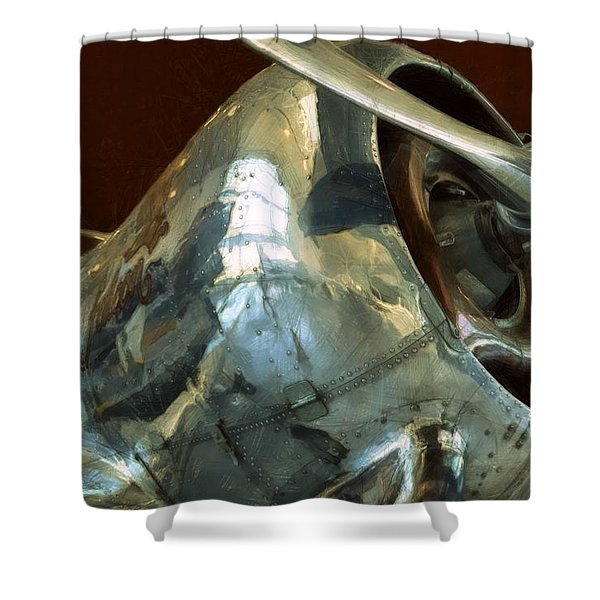Curtiss-Wright CW-22 Monoplane Shower Curtain by Michelle Calkins