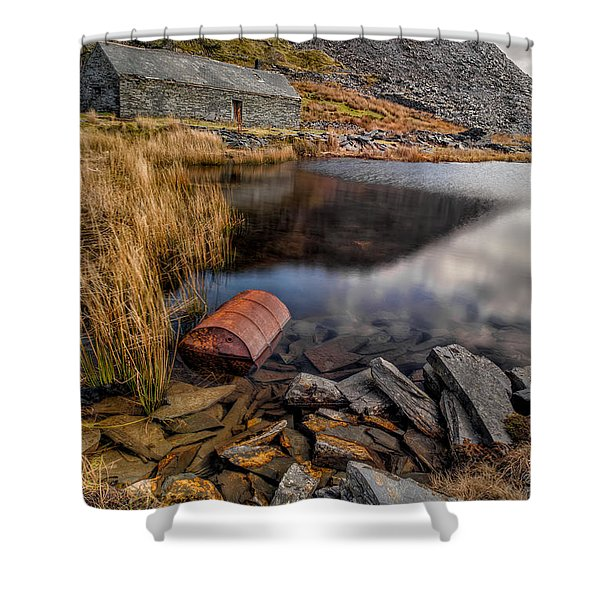 Cwmorthin Slate Quarry Shower Curtain by Adrian Evans