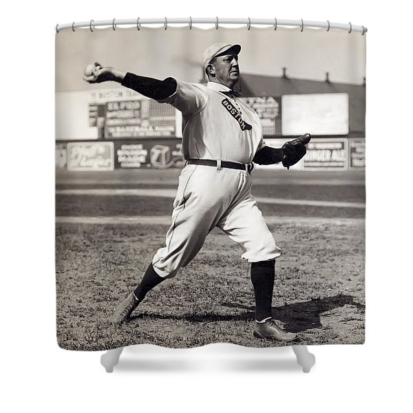 Cy Young - American League Pitching Superstar - 1908 Shower Curtain by Daniel Hagerman