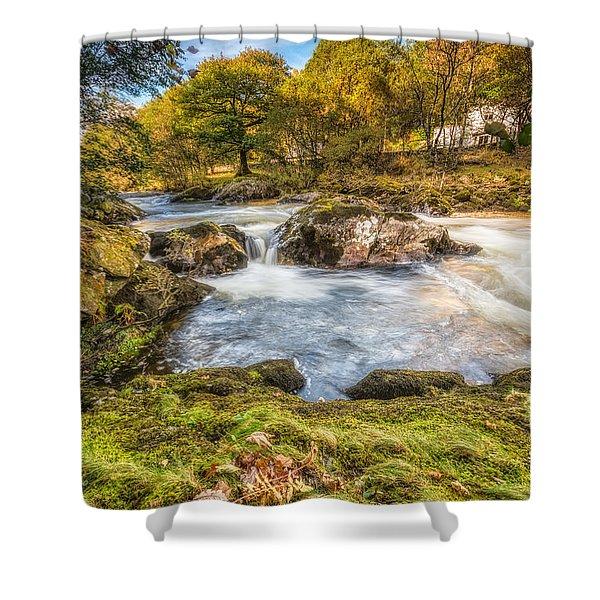 Cyfyng Falls Shower Curtain by Adrian Evans