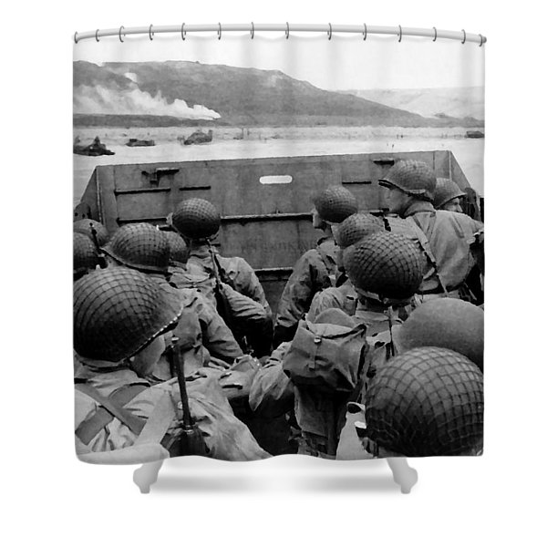 D-Day Soldiers In A Higgins Boat  Shower Curtain by War Is Hell Store