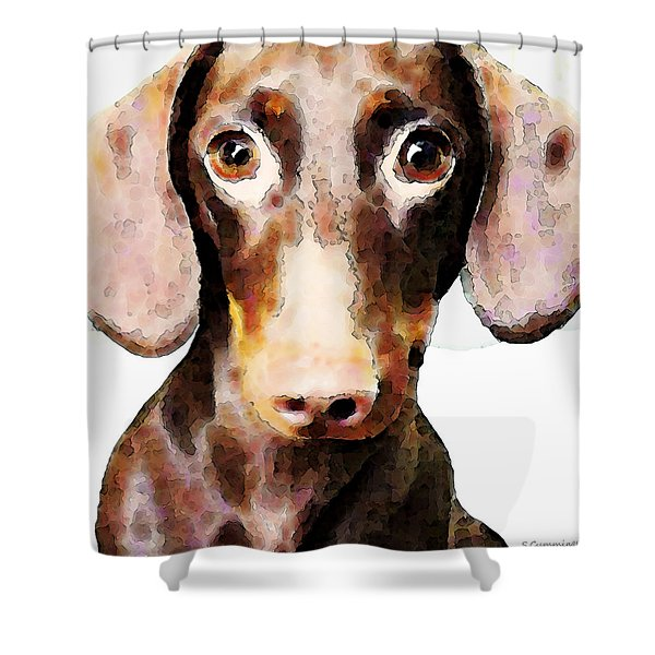 Dachshund Art - Roxie Doxie Shower Curtain by Sharon Cummings