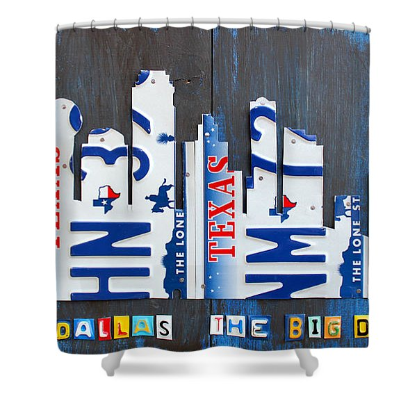 Dallas Texas Skyline License Plate Art by Design Turnpike Shower Curtain by Design Turnpike