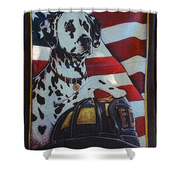 Dalmatian The Firefighters Mascot Shower Curtain by Paul Ward