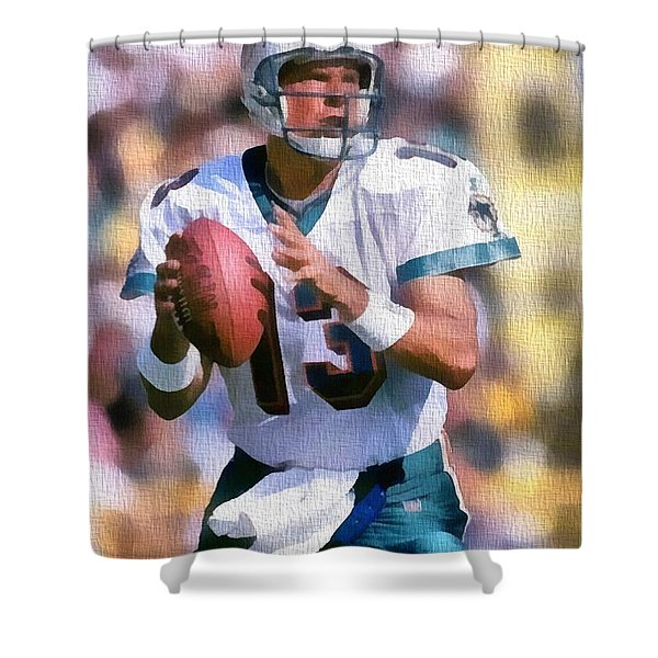 Dan Marino Canvas Shower Curtain by Dan Sproul