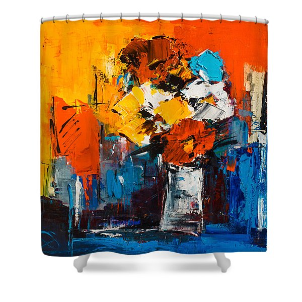 Dancing Colors Shower Curtain by Elise Palmigiani