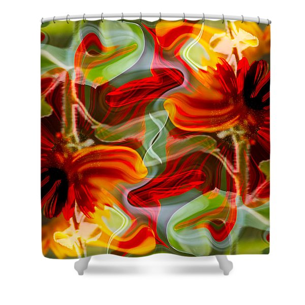 Dancing Flowers Shower Curtain by Omaste Witkowski