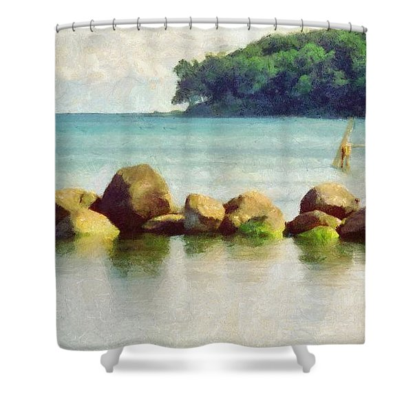 Danish Coast On The Rocks Shower Curtain by Jeff Kolker