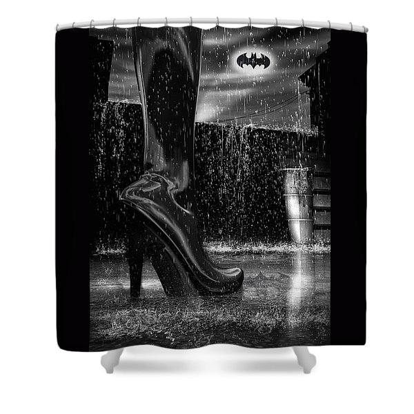 Dark Knight Shinny Boots Of  Leather Shower Curtain by Bob Orsillo