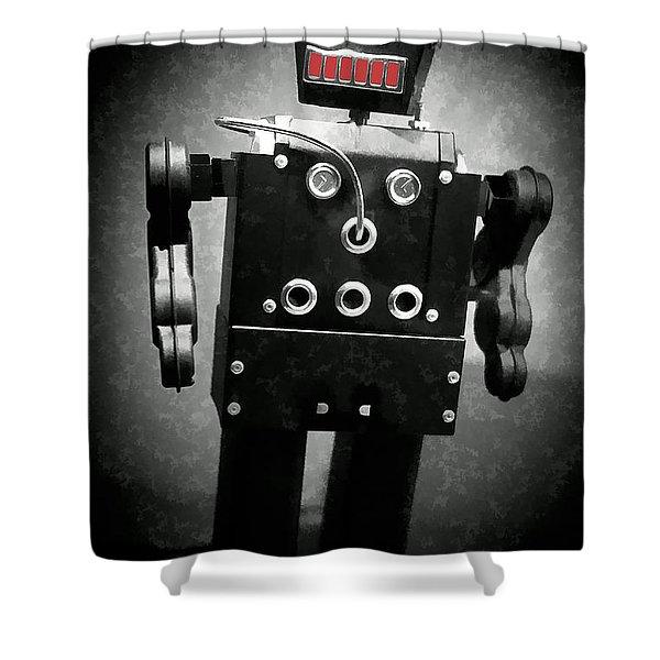 Dark Metal Robot Oil Shower Curtain by Edward Fielding