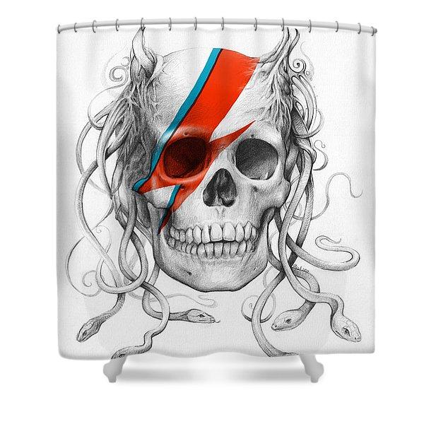 David Bowie Aladdin Sane Medusa Skull Shower Curtain by Olga Shvartsur